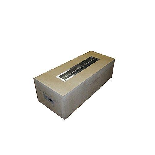 HPC Rectangular Unfinished Fire Pit Enclosure 60x24 Inch 36 Trough Match Lit Insert Propane