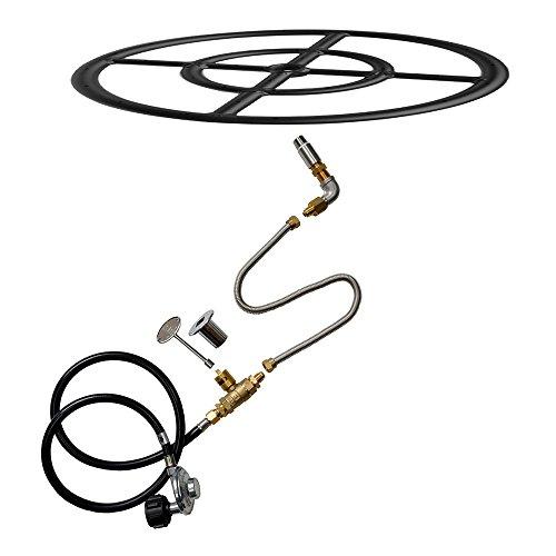 Stanbroil Lp Propane Gas Fire Pit Burner Ring Installation Kit Black Steel 12-inch