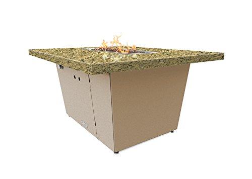 Palisades Rectangular Fire Pit Table - 44x36x15 - Chat Height - Propane - Santa Cecillia Granite Top - Beige Powdercoat Base