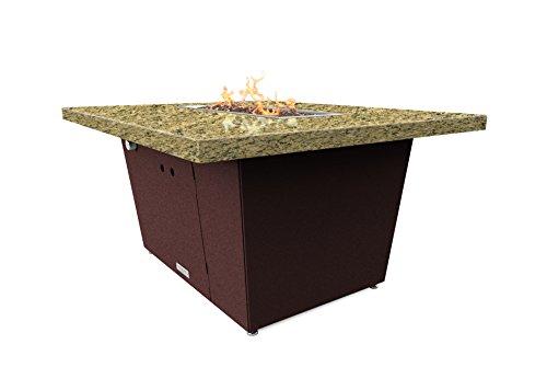 Palisades Rectangular Fire Pit Table - 44x36x15 - Chat Height - Propane - Santa Cecillia Granite Top - Dark Cherry Powdercoat Base