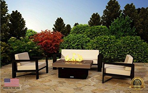 Santa Barbara Rectangular Fire Pit Table - 40 x 30 - Propane - Santa Cecillia Granite Top -Beige Powdercoat Base