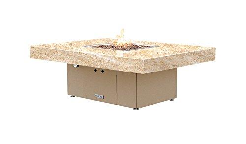 Santa Barbara Rectangular Fire Pit Table - 48 x 36 - Natural Gas - So Cal Special Granite Top -Beige Powdercoat Base
