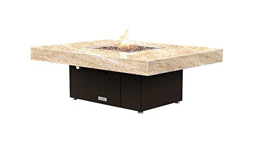 Santa Barbara Rectangular Fire Pit Table - 48 x 36 - Natural Gas - So Cal Special Granite Top - Bronze Powdercoat Base