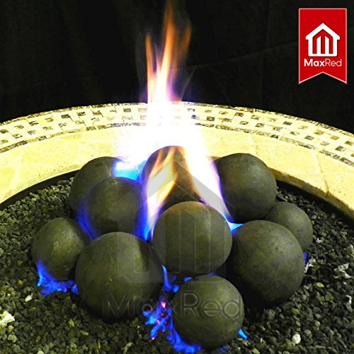 Maxred 14 Cannonball Fire Stones Log Set no Lava Rock For Fire Pit  Personal Fireplace