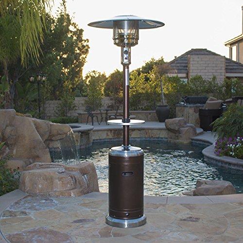 Belleze 48000 BTU Bronze  Stainless Steel Patio Heater Propane w Drink Table Wheels