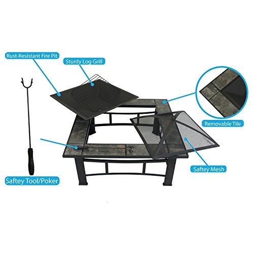 Outdoor 33&quot Metal Fire Pit Table Backyard Patio Garden Bon Heater Firepit