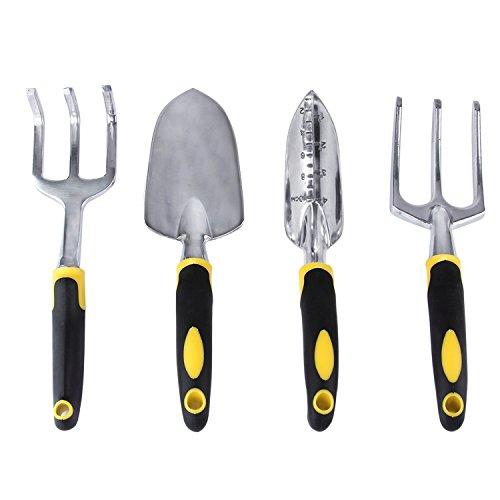 Passkilo 4 Piece Ergonomic Garden Hand Tool Set Includes a Trowel Cultivator Transplanter and Hand Fork