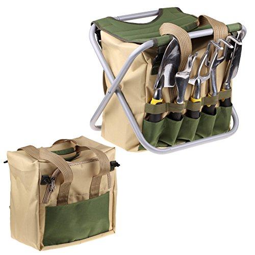 Iswees 7 Piece Garden Tools Set With 5 Ergonomic Gardening Steel Tools Includes Cultivator Trowel Weeder Weeding