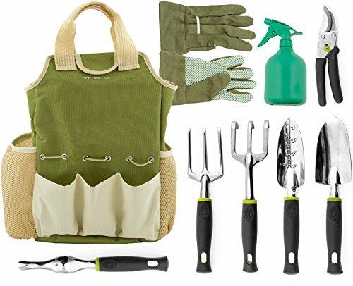 Vremi 9 Piece Garden Tools Set With 6 Ergonomic Gardening Tools Includes Digger Weeder Rake Trowel Pruners