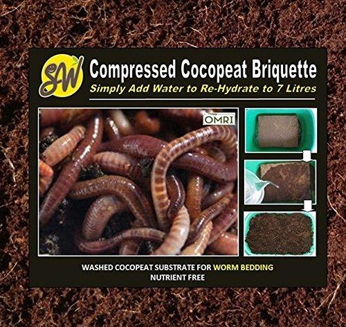 Coconut Coir Brick Worm Bedding Washed Cocopeat Worm Farm Compost Bin Composter Vermiculture 650 Gram Brick