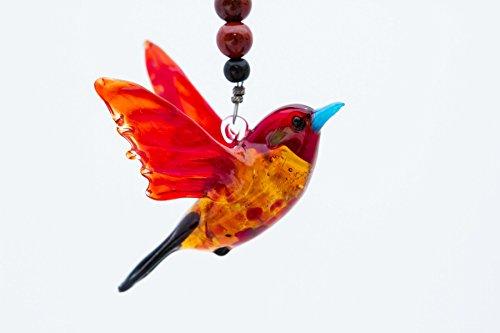 Cardinal Suncatcher Glass Yard Ornament with Jasper - Great Christmas Gift Sodaamthyst