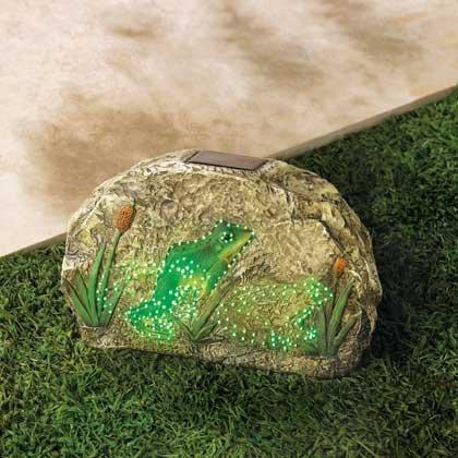 Solar Garden Stone Frog Sculptures Outdoor Statues Concrete Decor Backyard Ornament Pathways Lawn Yard Patio
