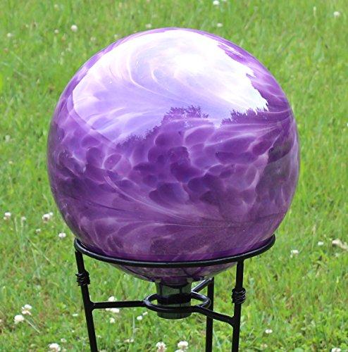Glass Gazing Ballquotviolet Blue&quot 12 Inch By Iron Art Glass Designs