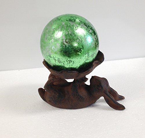 Cast Iron Bunny With Green Leaf Glass Gazing Globe 4 Inch