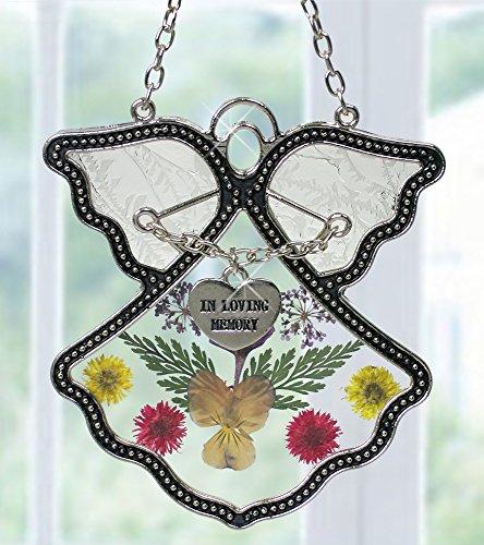Angel Suncatcher - In Loving Memory Angel - Pressed Flowers Stained Glass Angel with Memorial Heart Charm - In Memory of Loved Ones - Memorial Keepsake