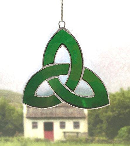 Irish Celtic Stained Glass Window Suncatcher trinity Knot Green