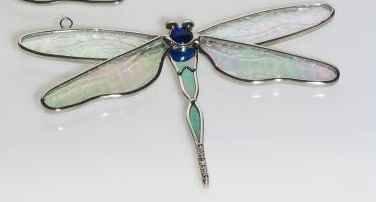 Stained Glass Dragonfly Suncatcher BLUE BODY