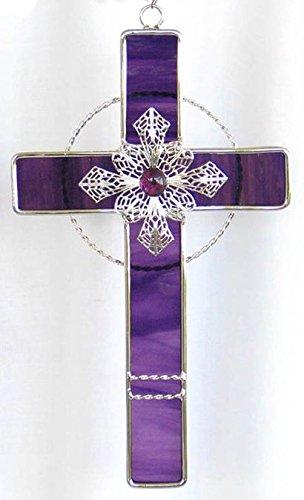 Stained Glass Filigree Cross - GRAPEPURPLE