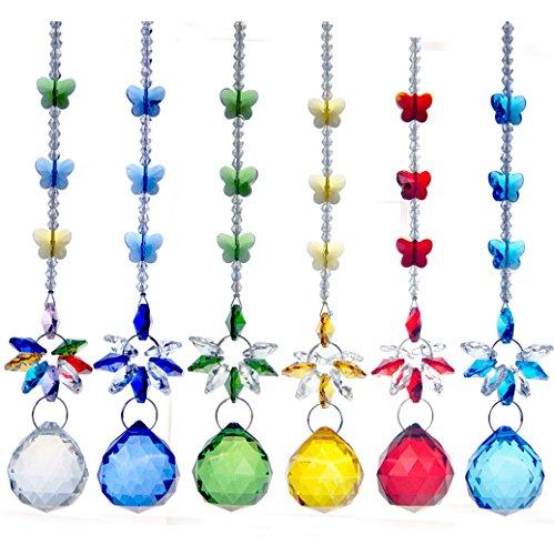 H&ampd 6pcs Crystal Ball Pendant Chandelier Decor Hanging Prism Suncatcher Butterfly Ornaments