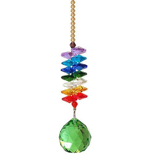 Newmerry 12 Inch Light GreenTopazPinkRoyal Blue Crystal Ball Prism Rainbow Octagon Beads Crystal Cascade Chakra Hanging Suncatcher Light Green