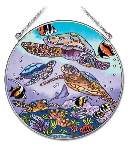 Amia 6-12-inch Circle Hand-painted Glass Suncatcher Sea Turtle Large