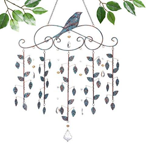 Grasslands Road Hanging Bird With Metal Leaves Suncatcher 2 Pack 27&quotlarge Multicolor