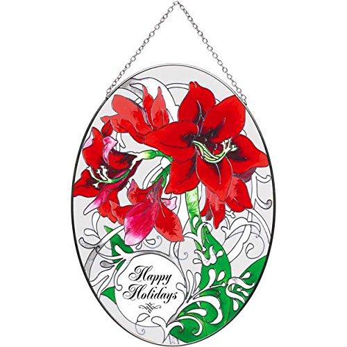 9 Oval Amaryllis Happy Holidays Painted Glass Suncatcher By Joan Baker