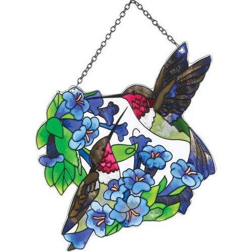 Hummingbird Duo Painted Glass Suncatcher by Joan Baker 75 x 55