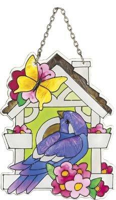 Joan Baker Designs Ssb1009 Bird And Birdhouse Art Glass Suncatcher 3-inch By 4-inch