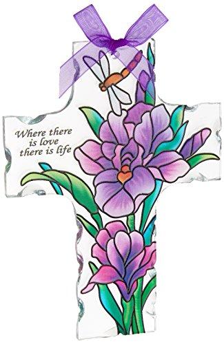 Joan Baker Designs Sx2003 4-inch By 5-12-inch Purple Irises Art Glass Cross Suncatcher