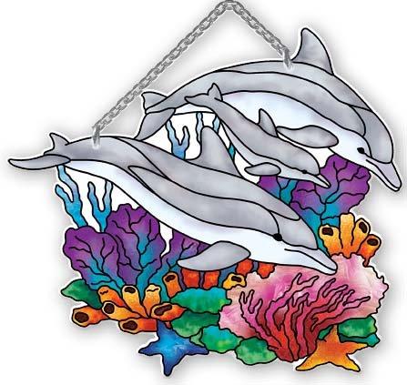 Playful Dolphins Water-cut Suncatcher By Joan Baker