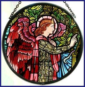Decorative Hand Painted Stained Glass Window Sun CatcherRoundel in an Angel Gabriel Design