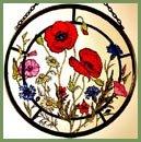 Decorative Hand Painted Stained Glass Window Sun Catcherroundel In A Cornfield Flowers Design