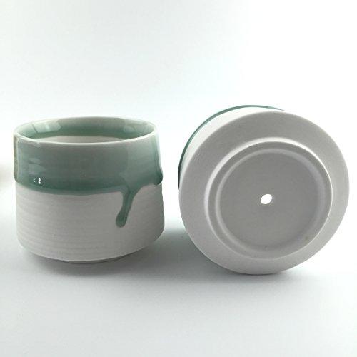 Green Glaze White Ceramic Succulent Planter