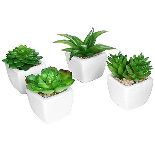 Set Of 4 Modern White Ceramic Mini Potted Artificial Succulent Plants  Faux Plant Home Decor - Mygift&reg