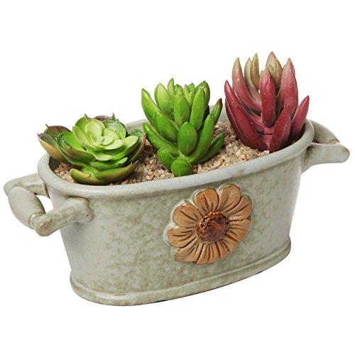 Country Rustic Green Ceramic Bucket Trough Style Flower Design Succulent Planter  Flower Pot - Mygift&reg