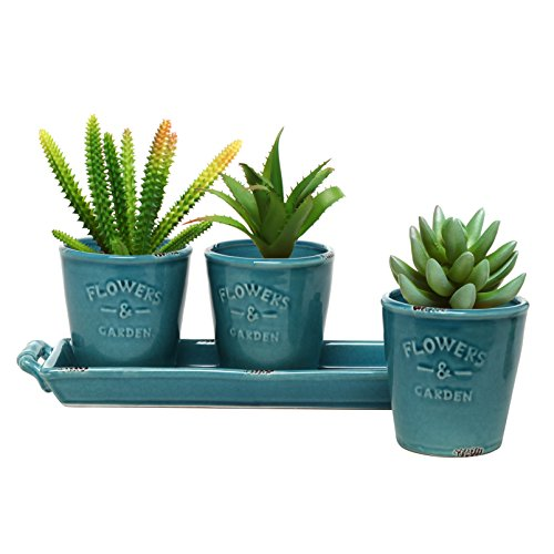 Mygift&reg Set Of 3 Country Rustic Turquoise Ceramic Succulent Planters  Flower Potsamp Handled Display Tray