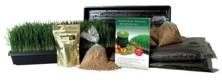 Certified Organic Wheatgrass Growing Kit - Growamp Juice Wheat Grass Trays Seed Soil Instructions Wheatgrass