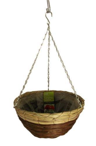 Gardman 14-inch Black Seagrass and Natural Grass Hanging Basket