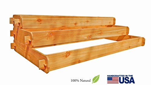 Timberlane Gardens Raised Bed Kit Large 3 Tiered 1x6 2x6 3x6 Western Red Cedar Elevated Planter with Mortise and Tenon Joinery 3 Feet x 6 Feet