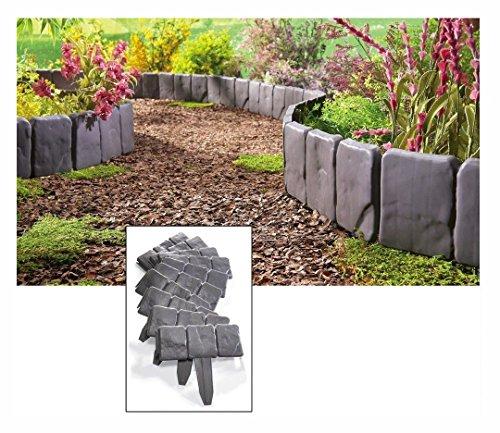 New Interlocking Faux Stone Border Edging 10 Piece Garden Borders Landscaping Look