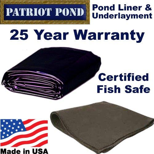 25 x 30 45 mil EDPM Patriot Pond Liner Underlayment Combo