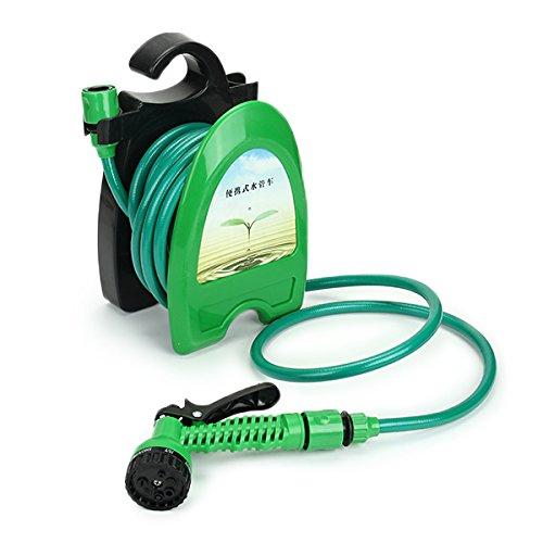 32FT Portable Mini Water Hose Reel Garden Watering Car Washing Hose Storage Holder Kit