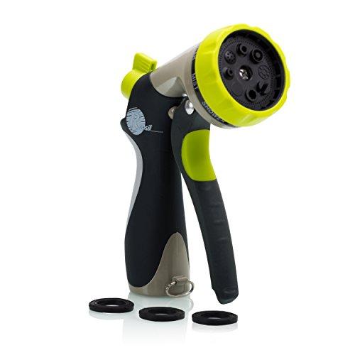 Garden Hose Nozzle - Hand Sprayer - 8 Pattern Adjustable Heavy Duty Metal Construction - Slip Resistant - With