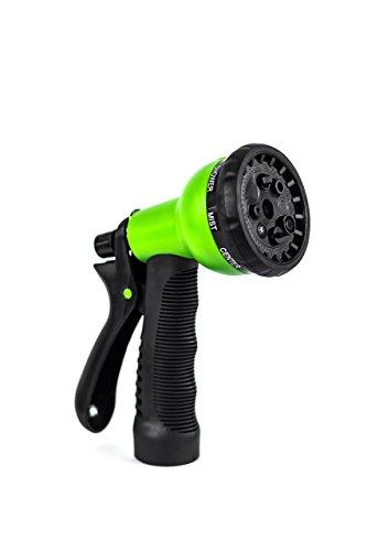 Garden Hose Nozzle - Hand Sprayer - Heavy Duty 8 Pattern Watering Nozzle - High Pressure - Greenleaf Horticulture