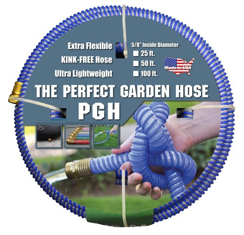 Tuff-Guard The Perfect Garden Hose Kink Proof Garden Hose Assembly Blue 58 Male x Female GHT Connection 58 ID 100 Foot Length