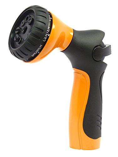 Metal Garden Hose Nozzle  Hand Sprayer - Light Touch Easy Thumb Control - Superior Ball Valve - Durable Metal