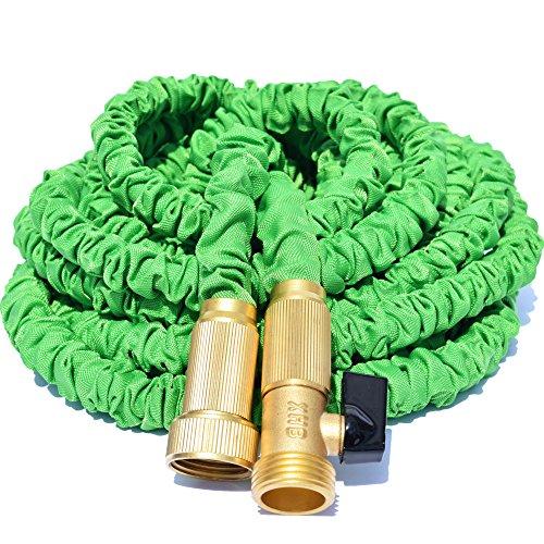 Triple Layer Latex Core Green Expandable Garden Hose Won&rsquot Leak Won&rsquot Burst Strong Brass Connectors not Plastic