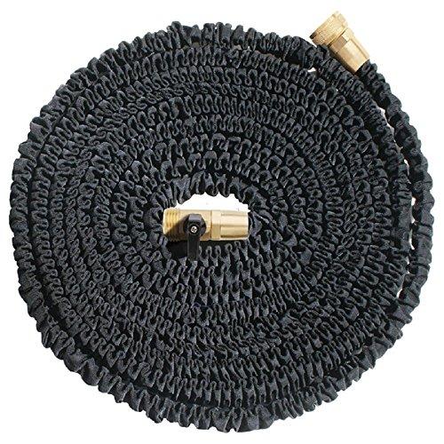 KLARENÂ 50ft Heavy Duty Expandable Hose Black Upgraded Brass Fittings and Shut-off Valve Toughest Flexible Expanding Garden  Utility Hose 50 foot US Seller Best quality