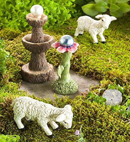 Miniature Fairy Garden Sheep Gazing Ball and Fountain Set